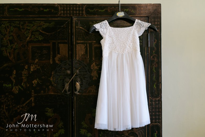Bridesmaid's dress at Hassop Hall