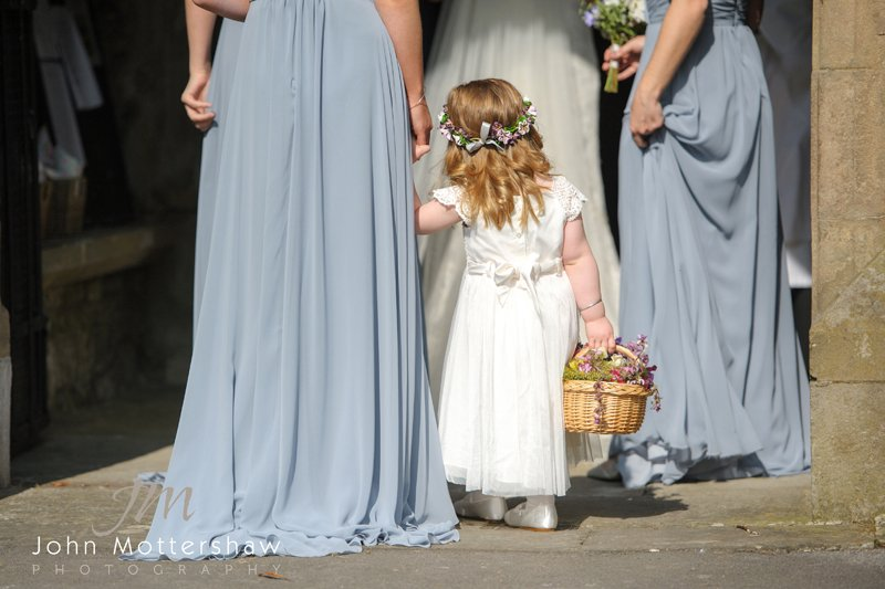Bridesmaids going into church