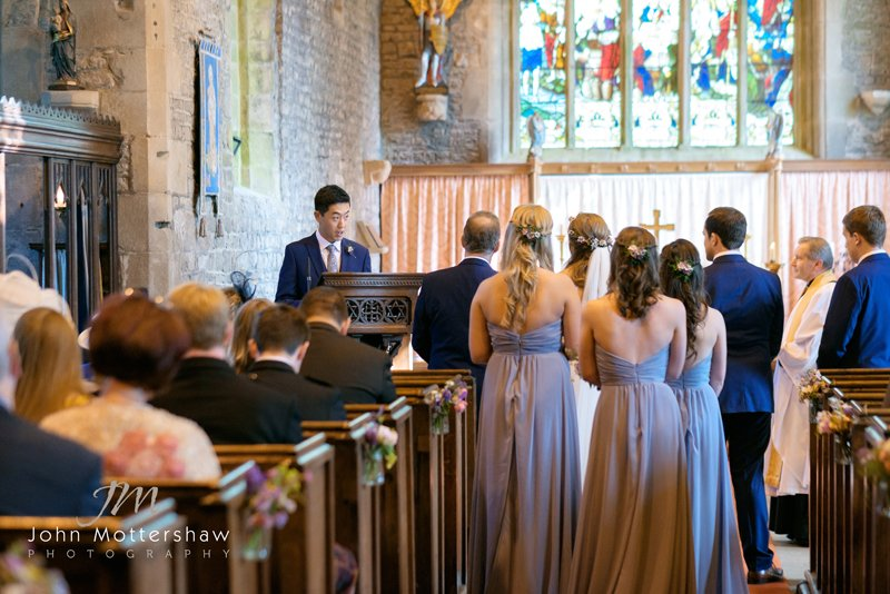Wedding ceremony at Taddington Church, Buxton
