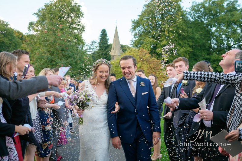 Confetti photograph shot at Taddington Church, Derbyshire