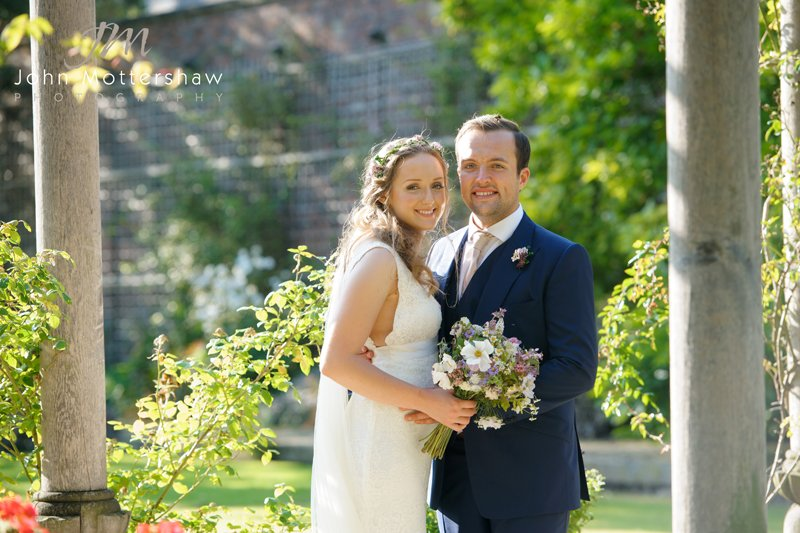 Wedding photography at Hassop Hall. Wedding portrait of bride and groom.