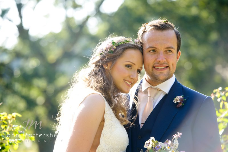Wedding portrait of bride and groom