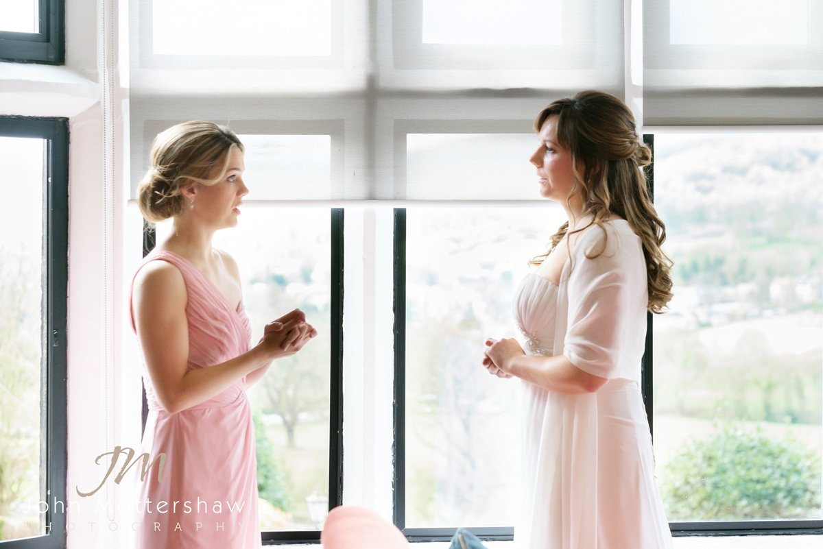 Bride and bridesmaid at the Maynard in Derbyshire