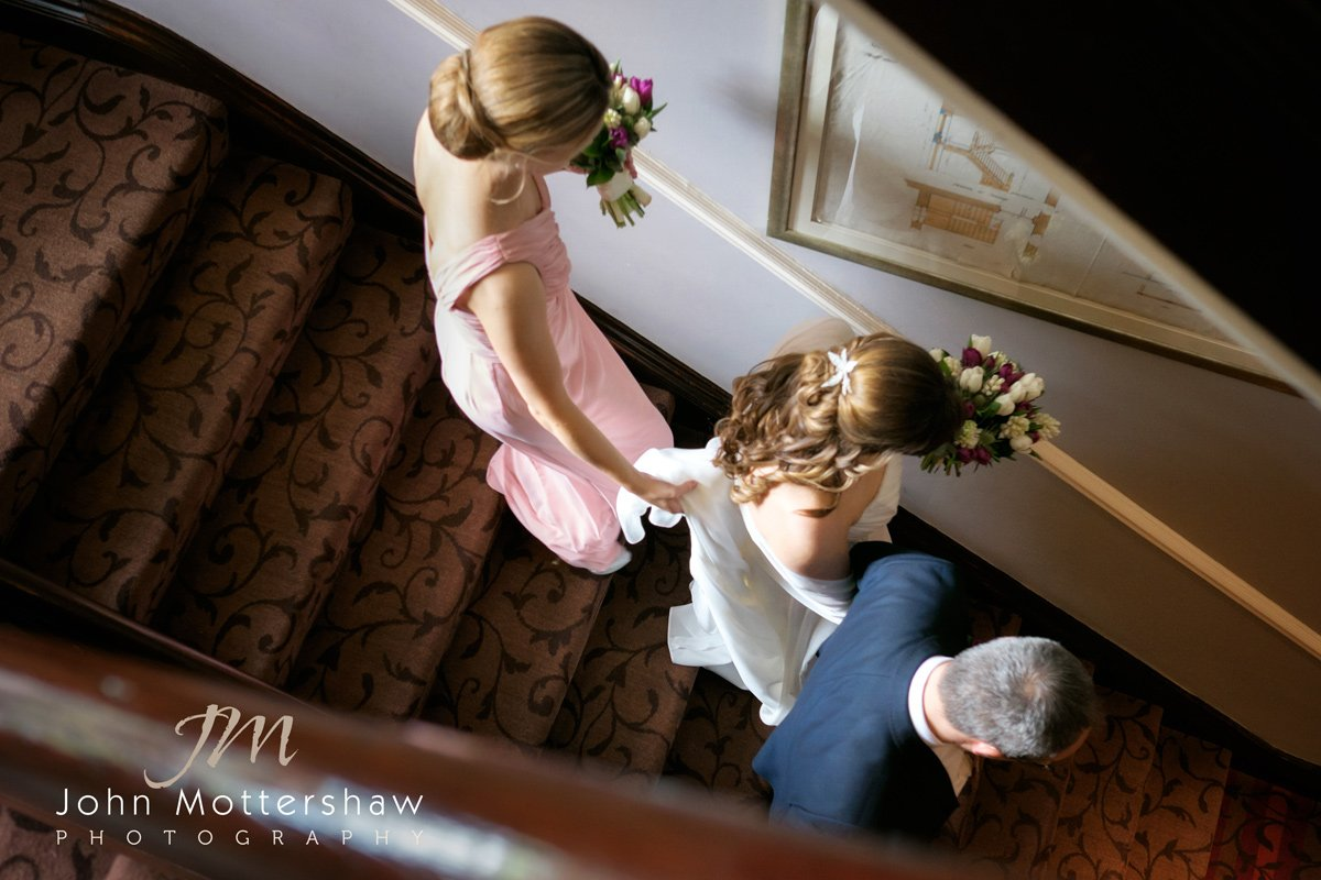 The bride on her way to her wedding ceremony at the Maynard in Derbyshire