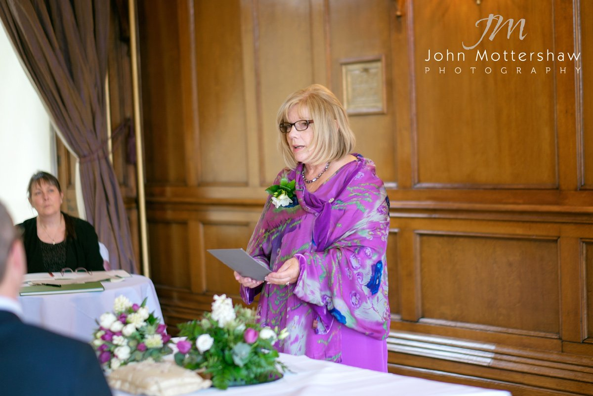 A reading at a wedding held at the Maynard in Derbyshire