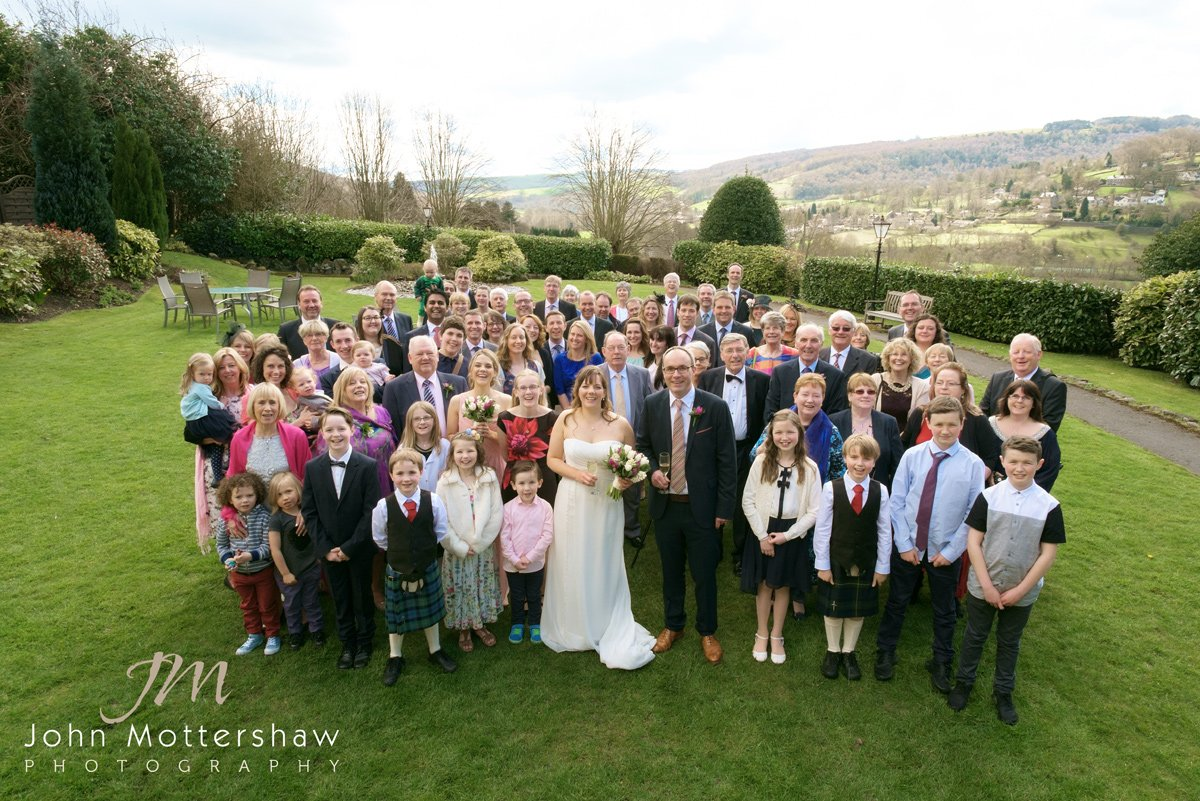 group photograph showing the Derbyshire Dales in the background