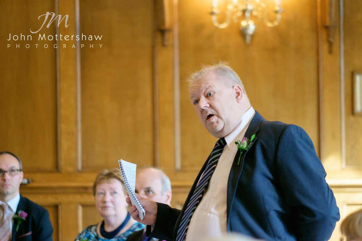 The brides father gives a speech at a Maynard wedding