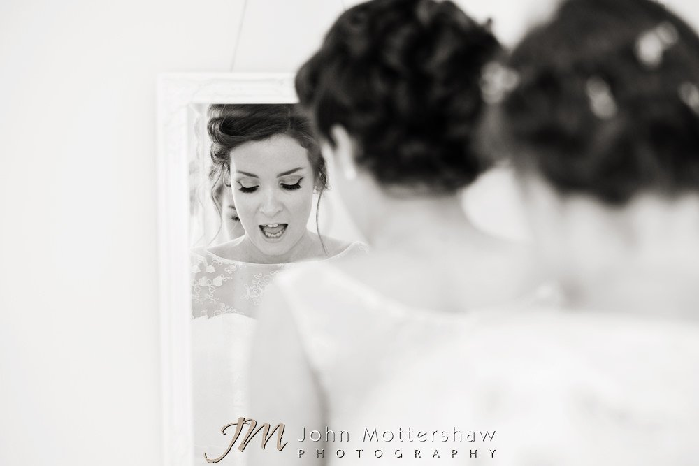 Black and white photography of bridal preparations