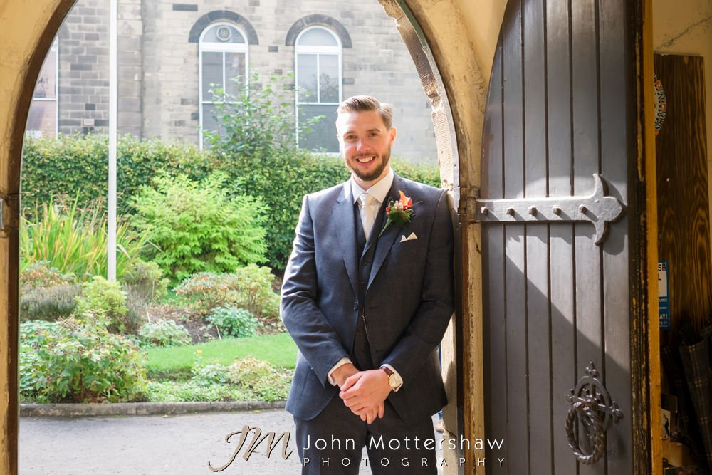 Groom before his wedding at St. Anne's church in Buxton. Reception was at The Old Hall