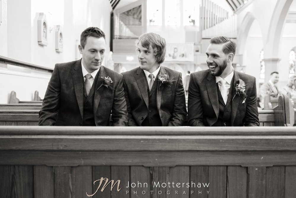 Groom and ushers in church