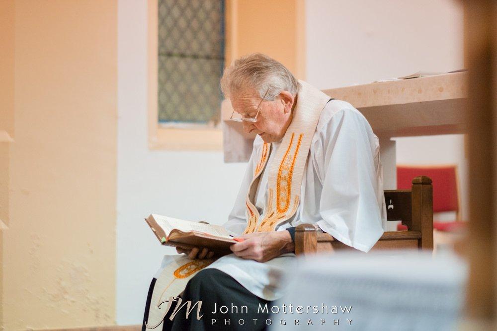 Priest during church wedding service
