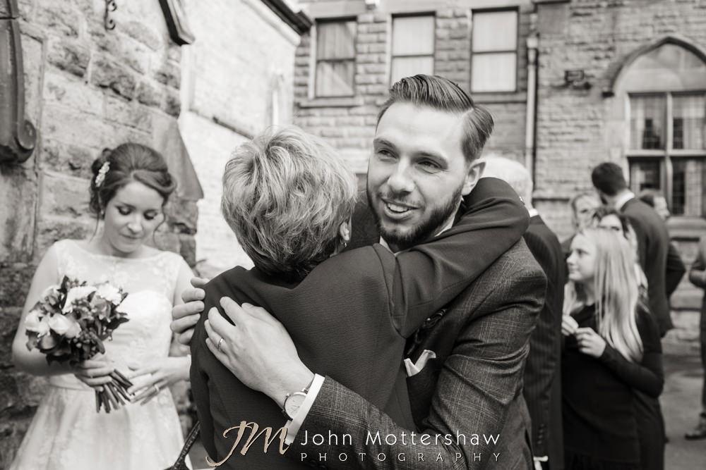 Informal wedding photos at the church