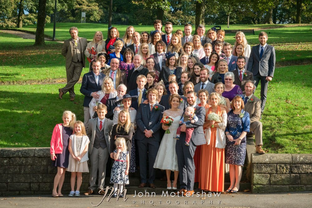 Fun group portraits at wedding in Buxton