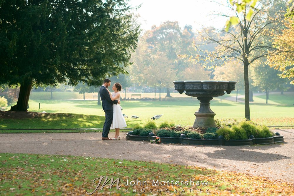 Informal photographs in the Pavilion Gardens, old hall buxton wedding photography