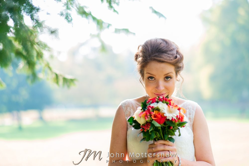 Weddings at Buxton Old Hall - bride in the gardens