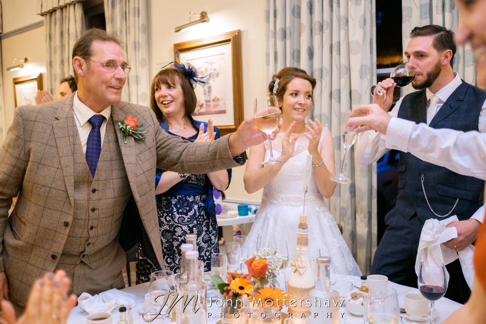 Wedding toasts with champagne and wine