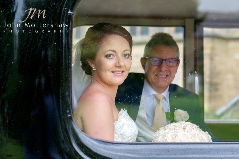 Bride and dad in the car