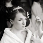 hair and make up being done for a wedding near Bakewell in the Derbyshire Peak District.