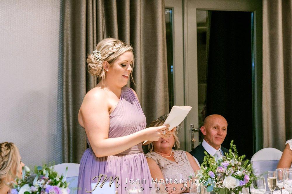 Evening wedding speech