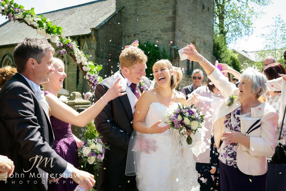 Confetti shot at Taxal Church then on to their wedding reception at Shrigley Hall.