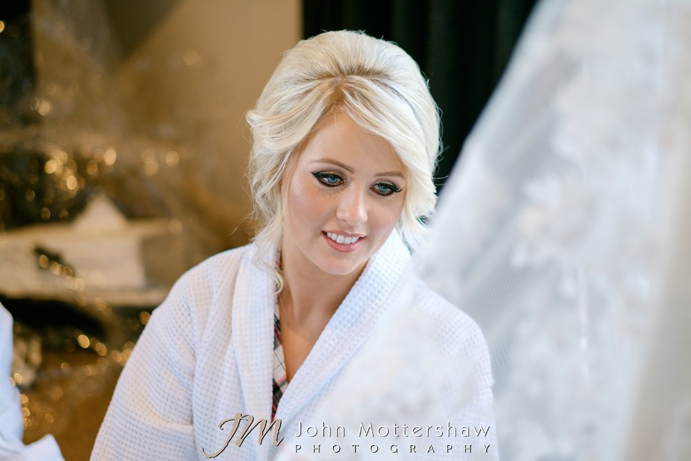 Beautiful bride at Sheffield wedding by John Mottershaw Photography
