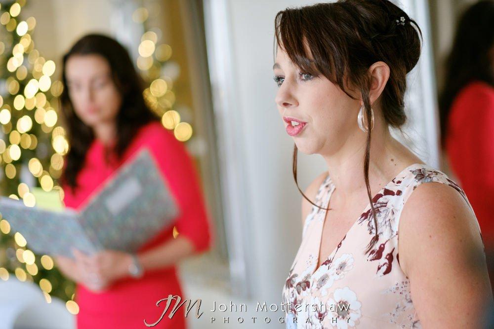 Guest speech at Christmas wedding