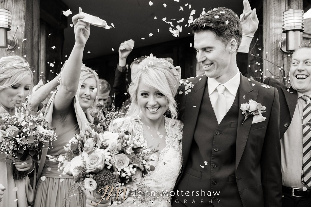 Wedding confetti at Sheffield wedding by John Mottershaw Photography