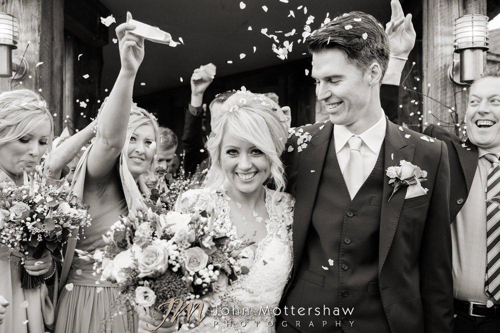 Wedding confetti at Sheffield wedding by John Mottershaw Photography