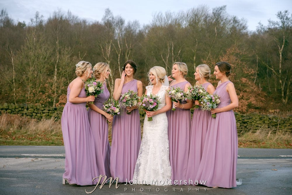 Bride and bridesmaids with pink dresses