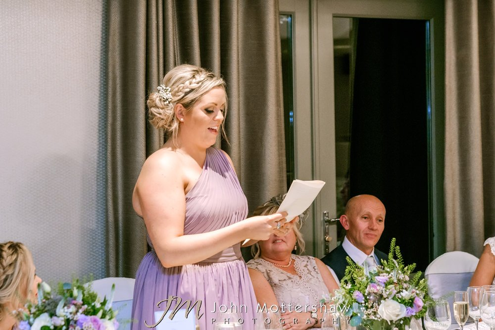 Bridesmaid giving speech