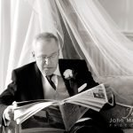 Wedding photograph of the bride's father waiting for his daughter's wedding at Hassop Hall.