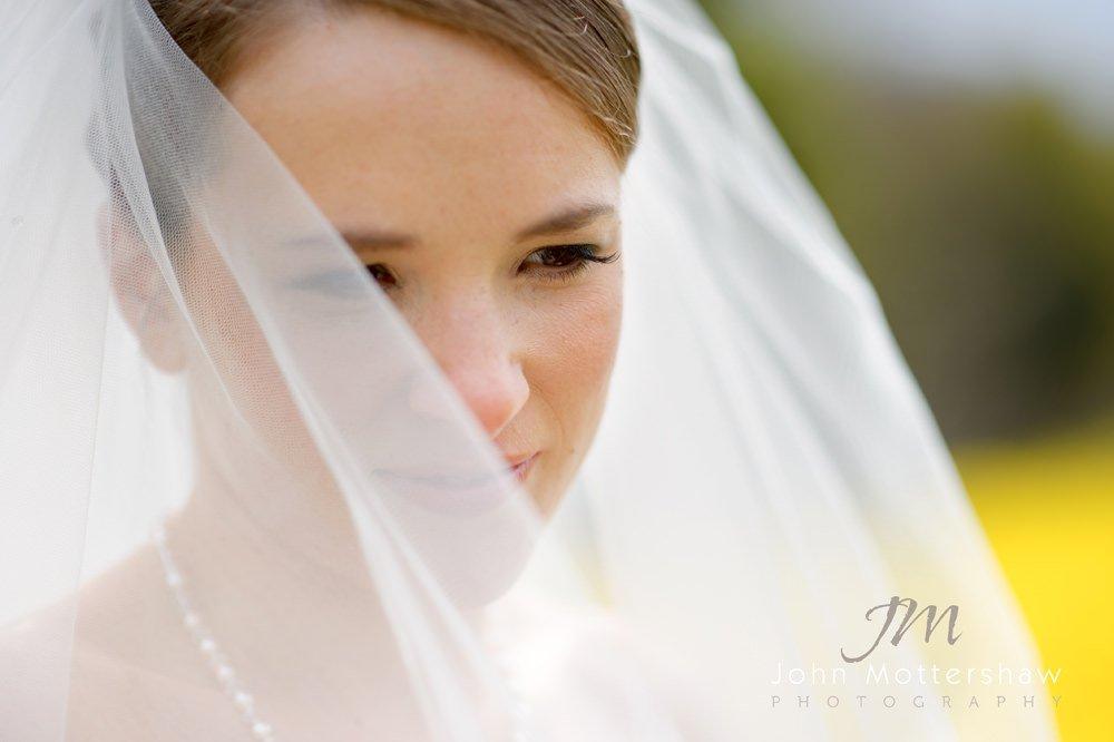 A bridal portrait of a bride at Hassop Hall near Sheffield.