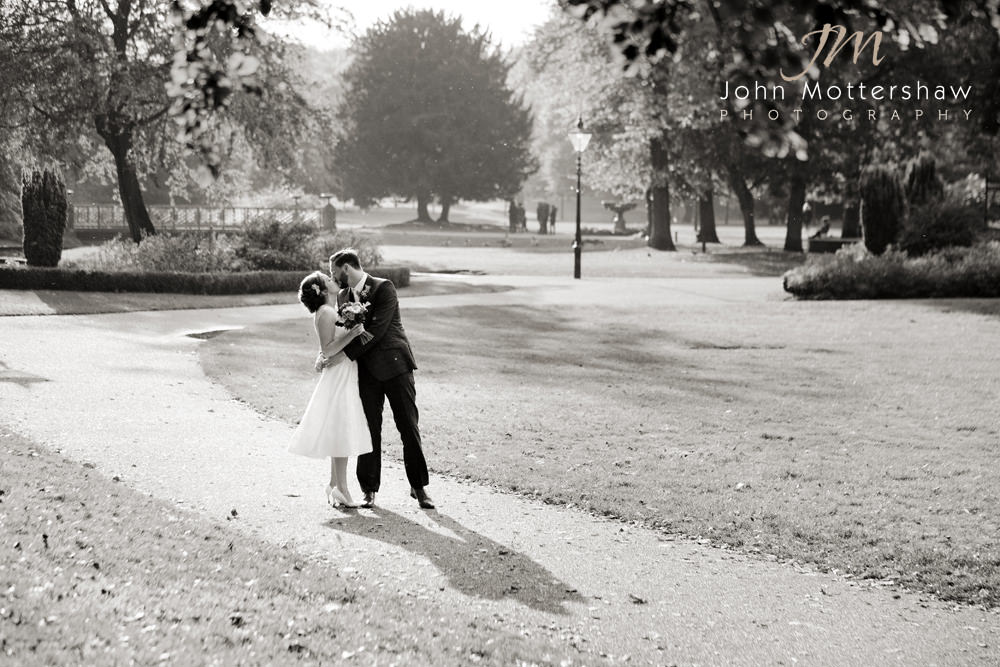 The Pavilion Gardens in Buxton by Sheffield wedding near the Old Hall Hotel.