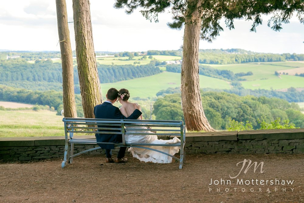 A romantic wedding photograph of a bride and groom at Wentworth Castle Gardens near Sheffield.
