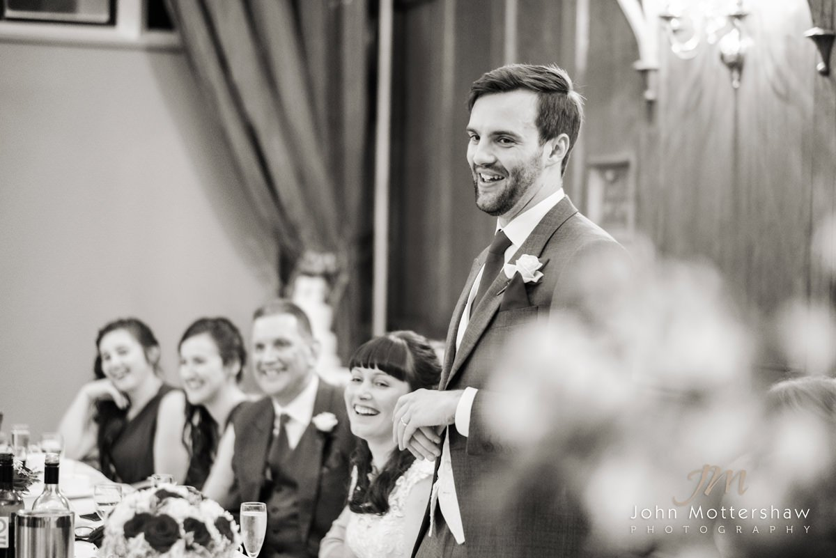 Black and white photograph of the groom's speech at a wedding at the Maynard near Sheffield.