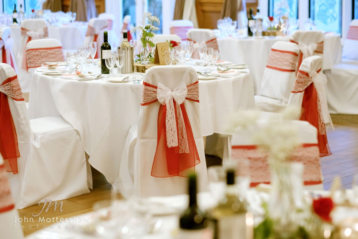 Wedding photograph at The Maynard near Sheffield of the dining room laid out ready for the wedding breakfast.