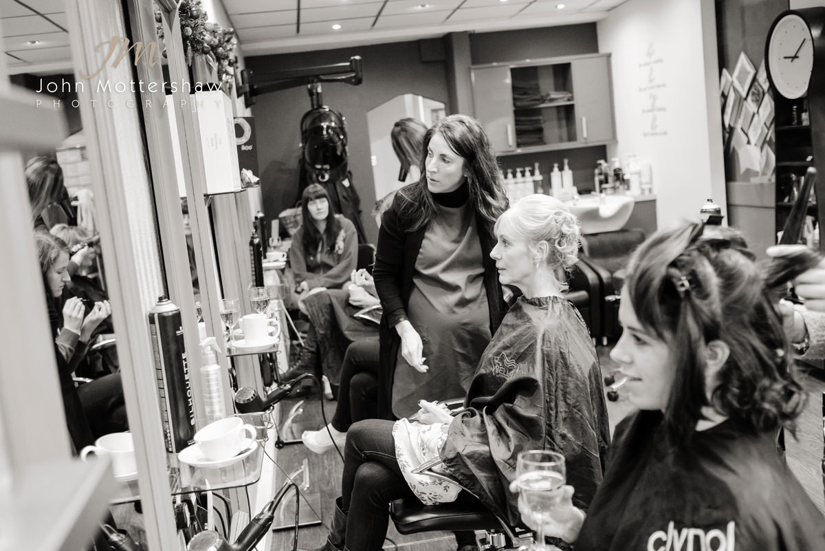 Wedding photograph of the girls at the hairdressers before the wedding in Buxton.