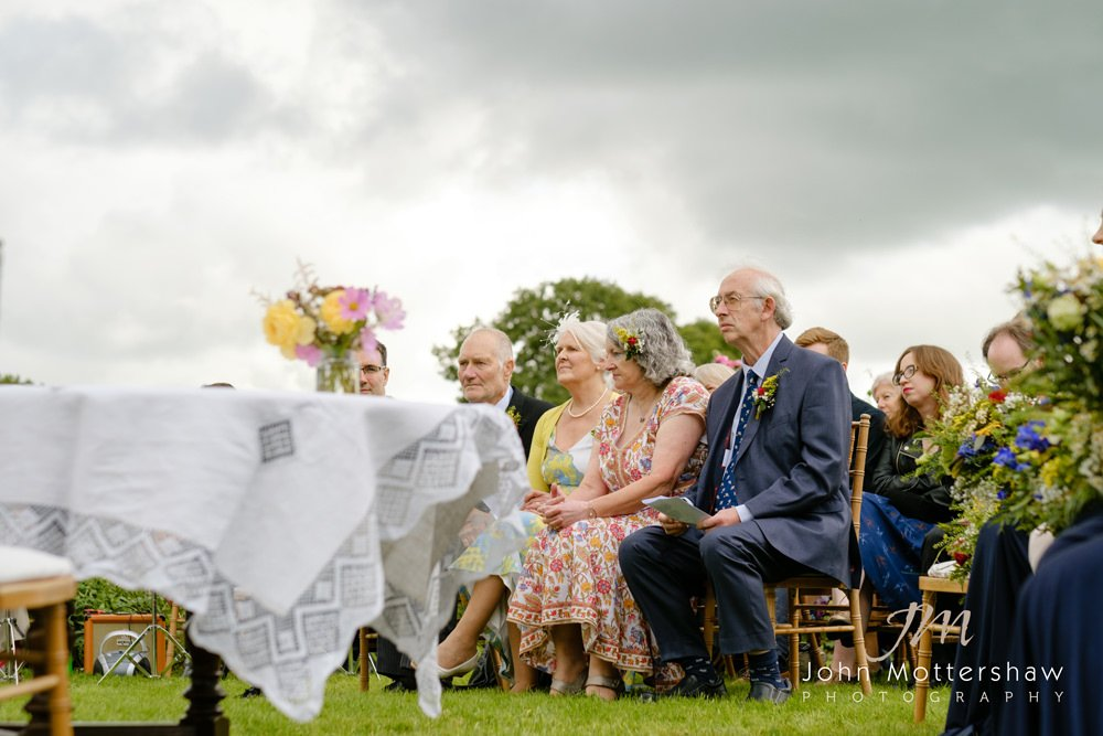 Outdoors Wedding ceremony at Lowfield Farm in the Peak District