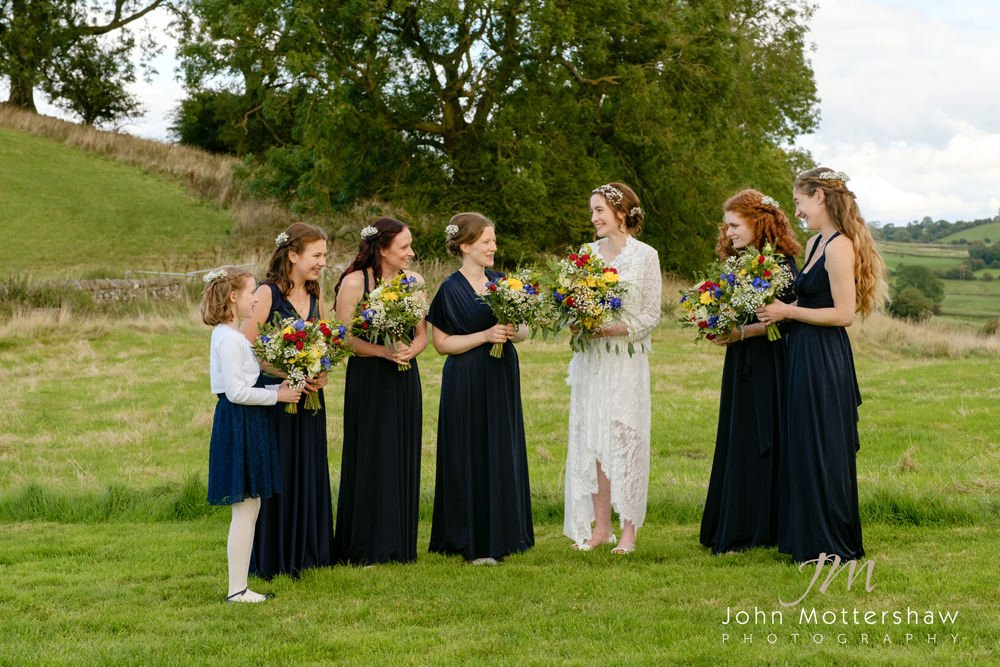 Bridesmaids at Lowfield Farm in the Peak District