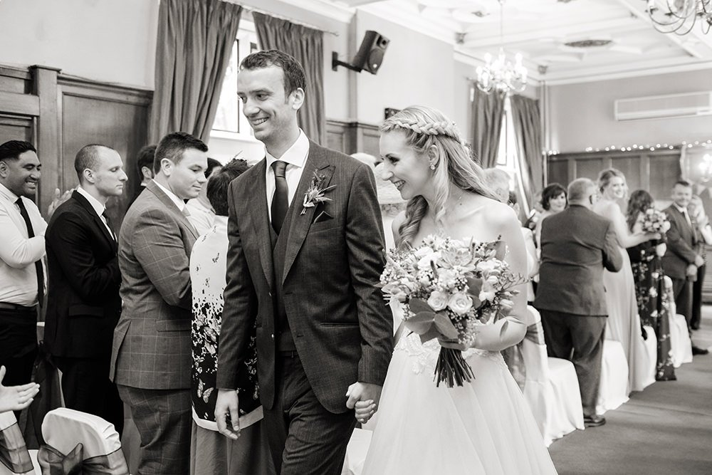 black and white wedding photography at the Maynard, near Sheffield