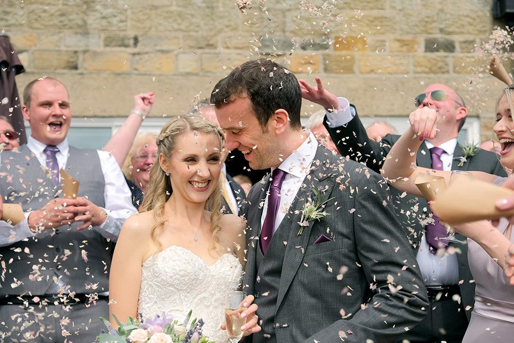 confetti shot at a wedding in the Peak District