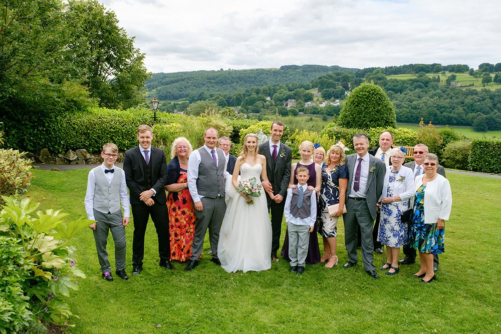 wedding group photograph at the Maynard, near Sheffield