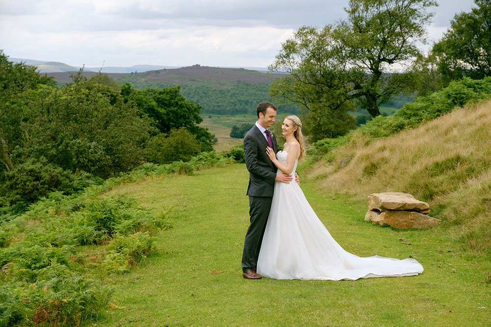 bride and groom on the moors near Sheffield
