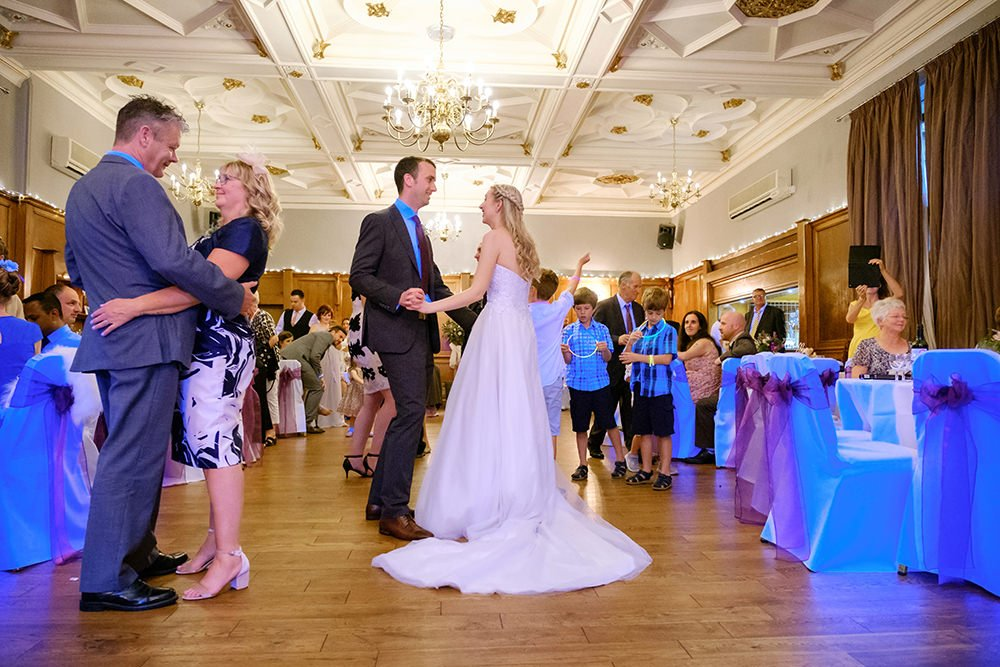 wedding photography at the Maynard, near Sheffield. Dancing in the ballroom