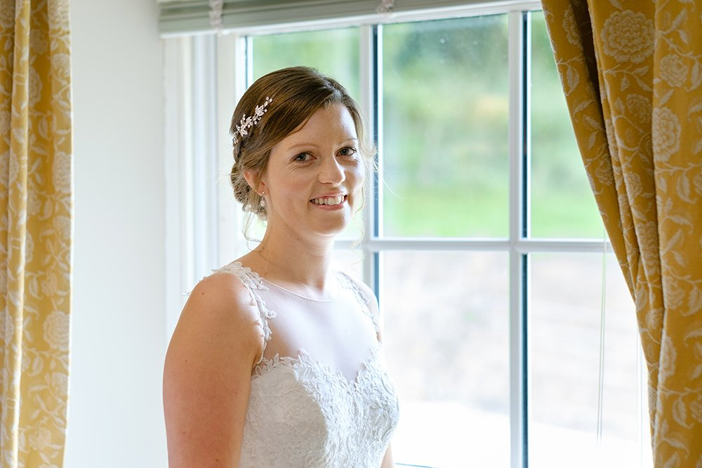 A bride is ready for her wedding at Losehill House in the Peak District