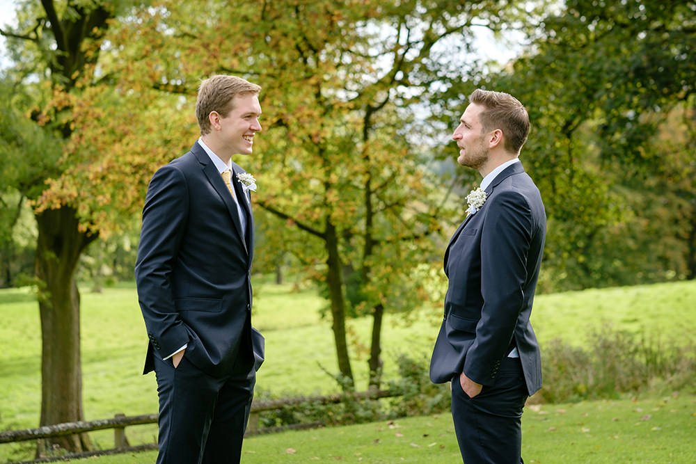 A groom and his best man at a wedding at Losehill House near Sheffield