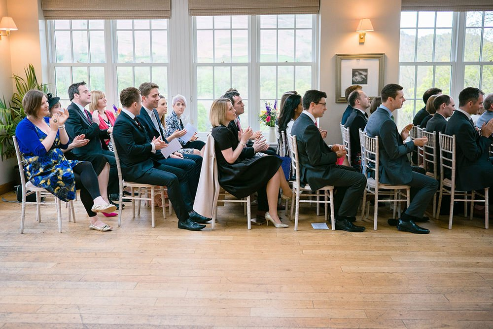 Guests seated at a Peak District wedding