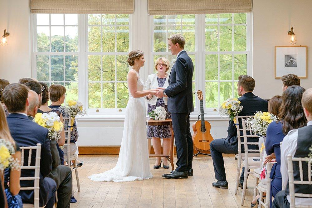 A civil ceremony at a wedding near Sheffield.