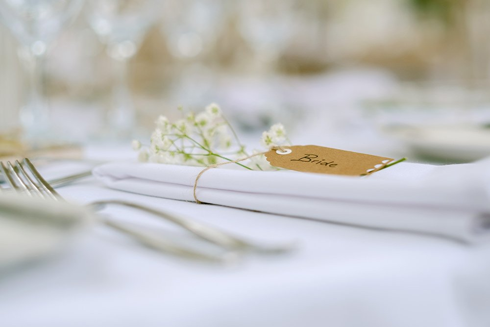 table decorations at a wedding at Losehill House, by Sheffield wedding photographer