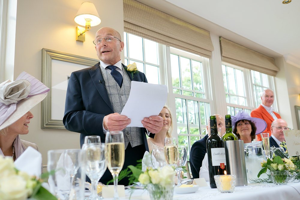 Father of the bride gives his speech at a wedding near Sheffield, by photographer John Mottershaw